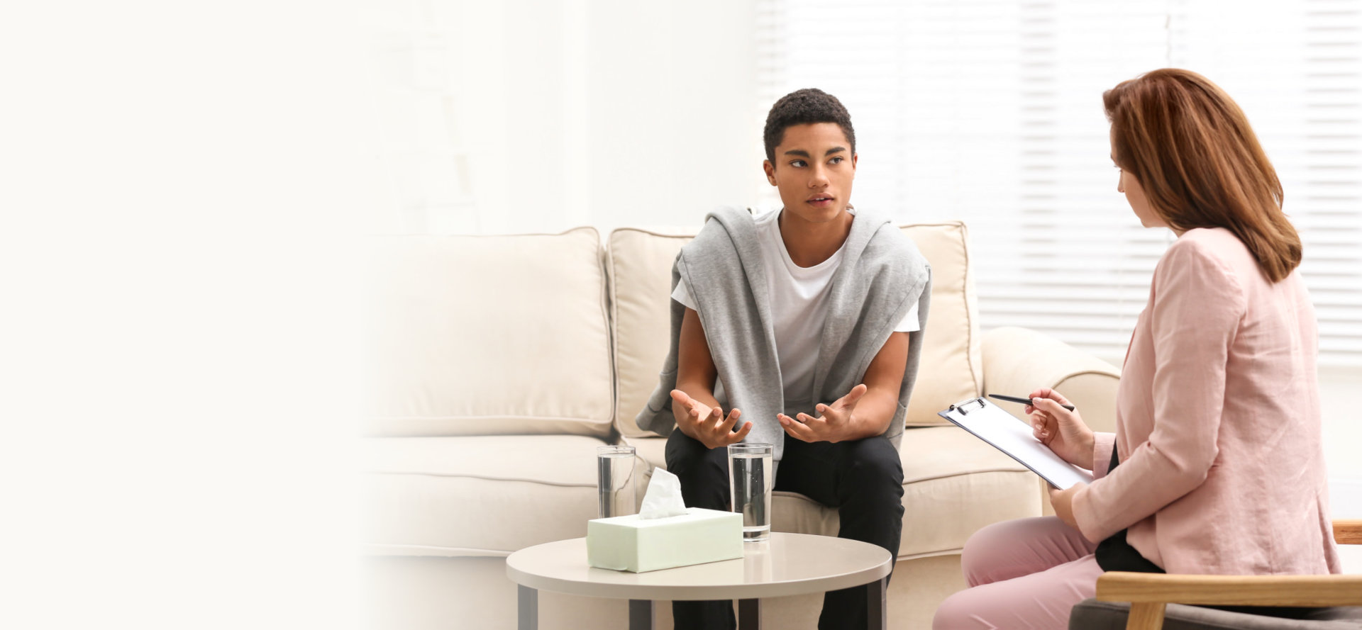 adult man sitting on the sofa counseling by the the professional counselor
